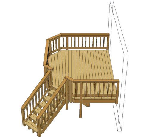 Best 14 X 10 Deck W Angled Corner Stairs At Menards Porch 400 x 300