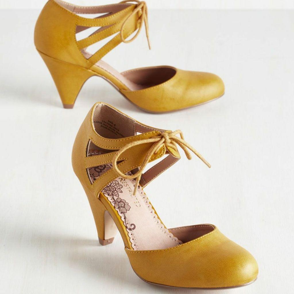 Modcloth mustard yellow retro heel in