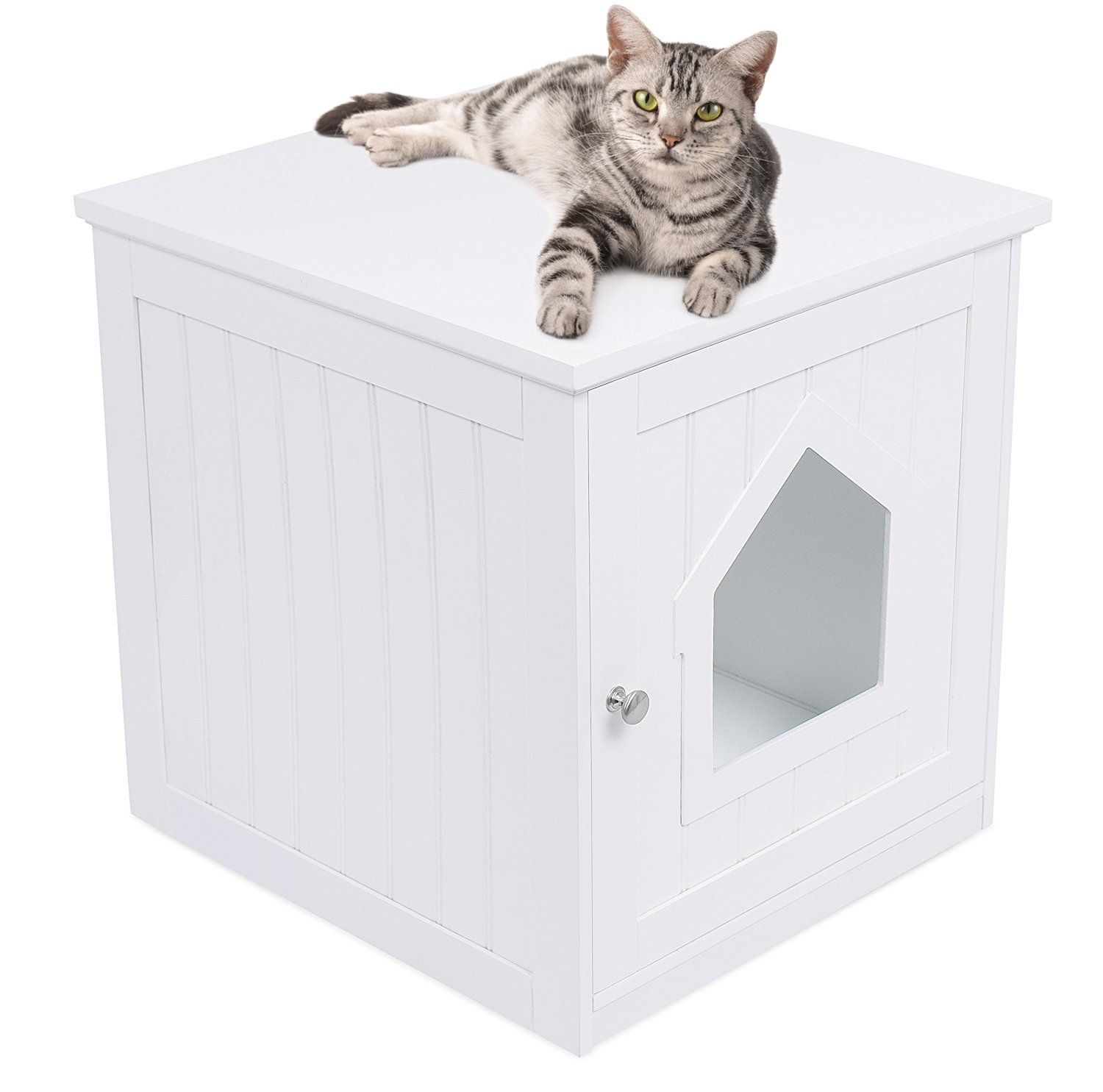 Free Shipping Best Decorative Cat House Side Table Cat Home Nightstand Indoor Pet Crat Litter Box Furniture Litter Box Enclosure Cat Litter Box Furniture