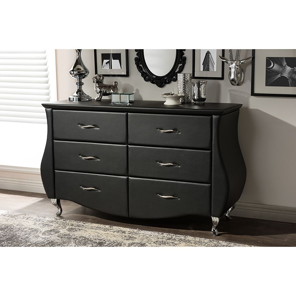Enzo Faux Leather Dresser 6 Drawers Black 6 Drawer Dresser