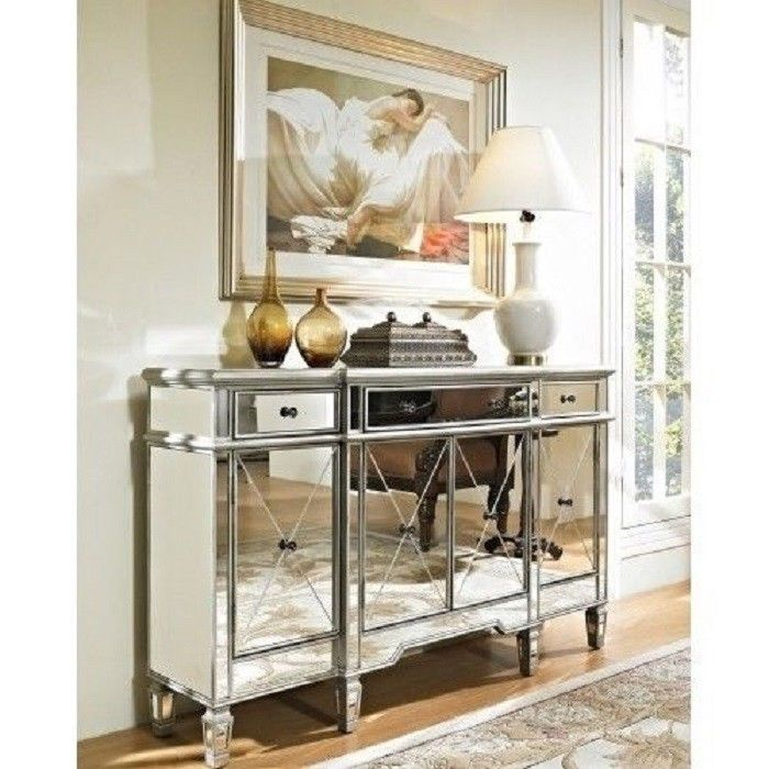 Mirrored Console Cabinet Table Dresser Bedroom Silver Furniture Drawer Storage
