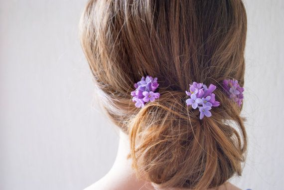 Lilac Flower Hair Pin Purple Flower Hair Accessory Wedding Etsy Lilac Hair Bridal Hair Ornaments Flower Hair Pin