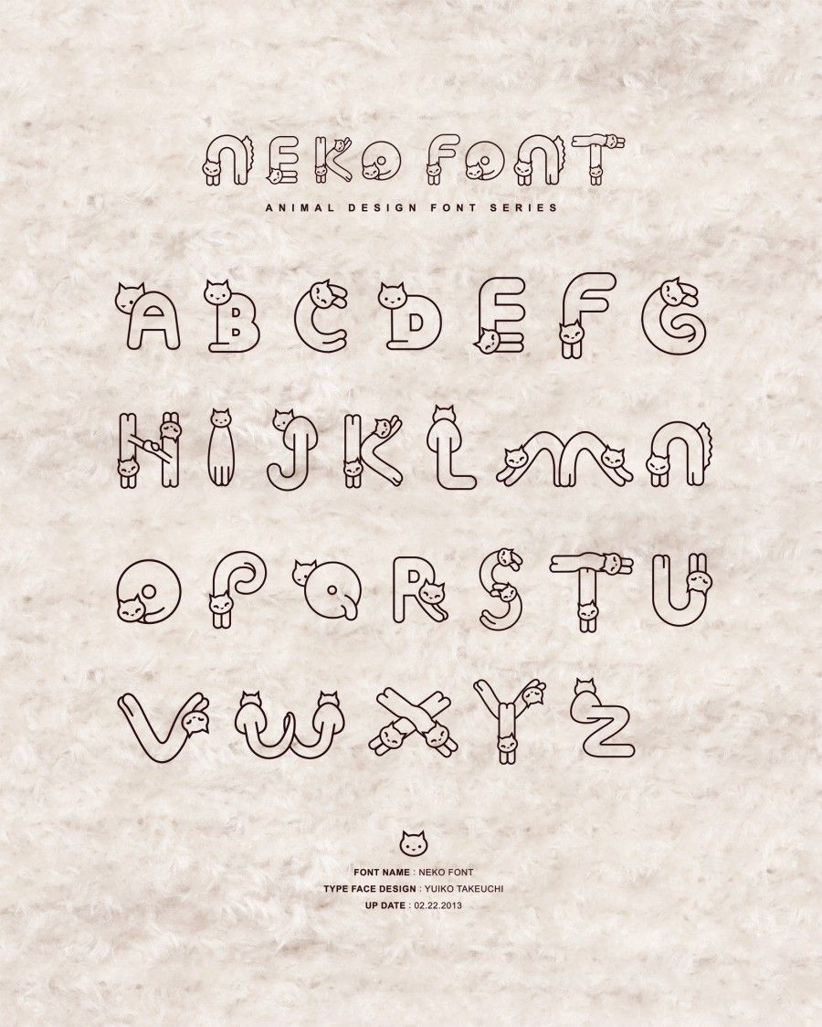 neko font by yuiko takeuchi | design | pinterest | フォント、文字