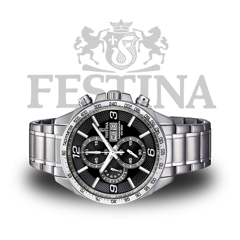 Festina Timeless Chronograph F6861 4 in  Silber    Schwarz mit retrograder  Anzeige 63903da5a3
