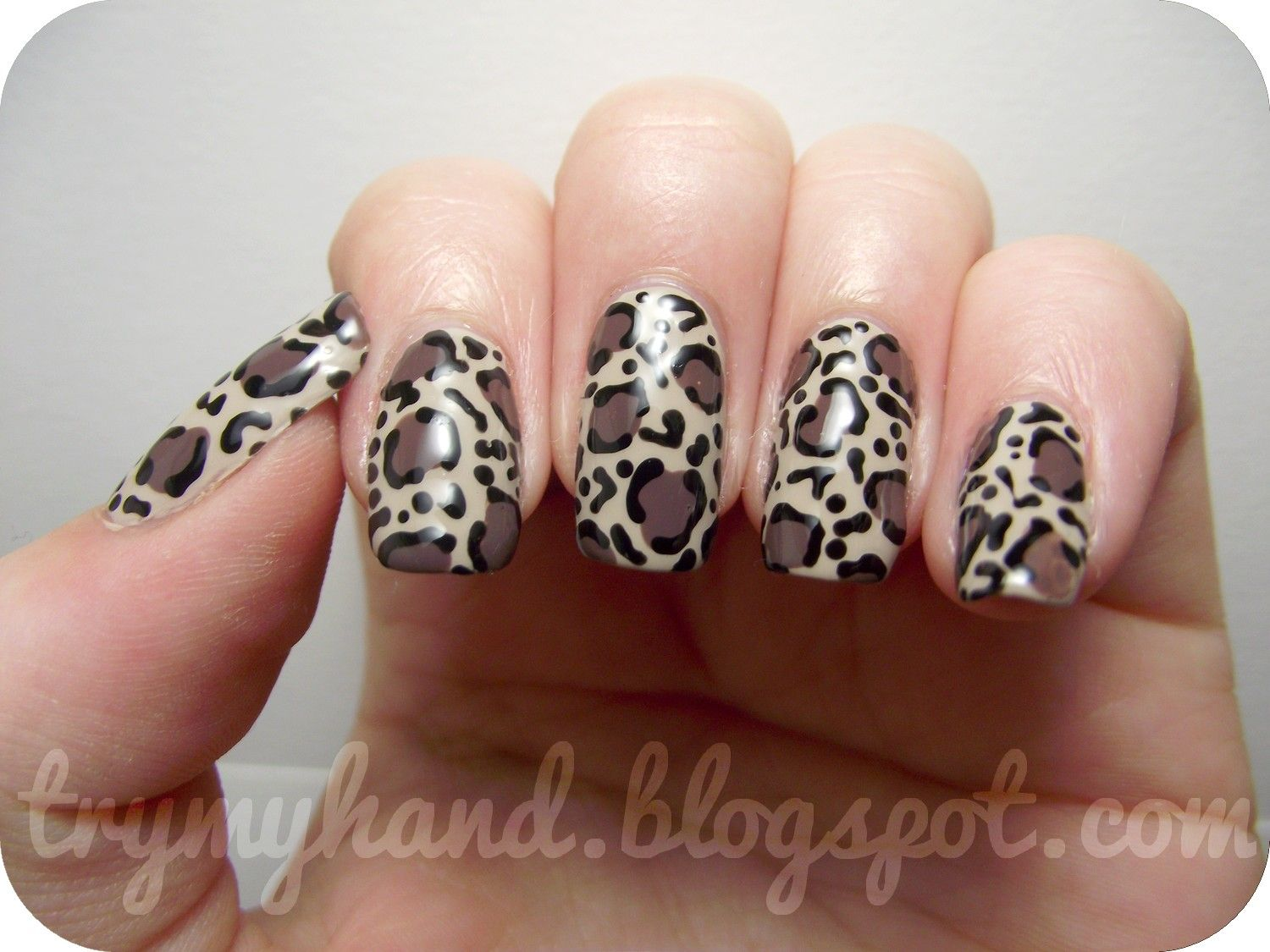 Awesome Leopard Print Nail Art Design Idea With Decals Applied On ...