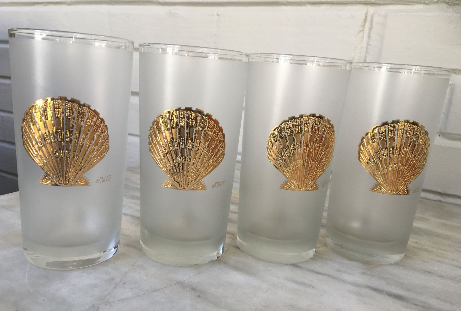 1960s Vintage Culver Frosted Gold Shell Glasses Glass Etsy Carat Gold Gold Tom Collins Glasses