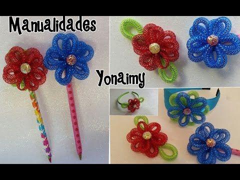 Flores de cordon para decorar lapices o plumas diademas for Manualidades con plumas