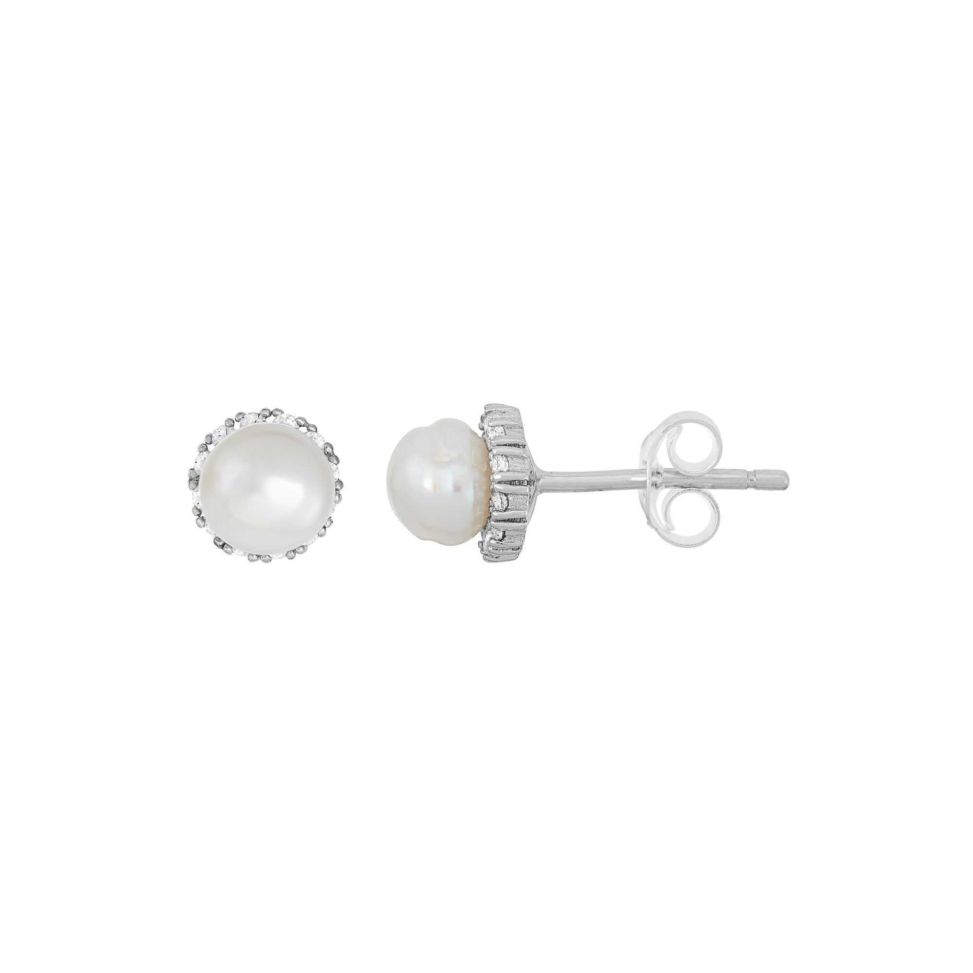akoya stud earrings cultured in white pearls gold pearl