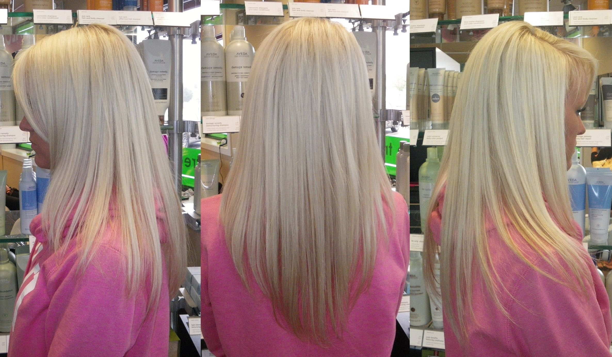 you won't believe this blondie is naturally SEVEN LEVELS DARKER! She looks completely like a natural blonde without brassy color at all!