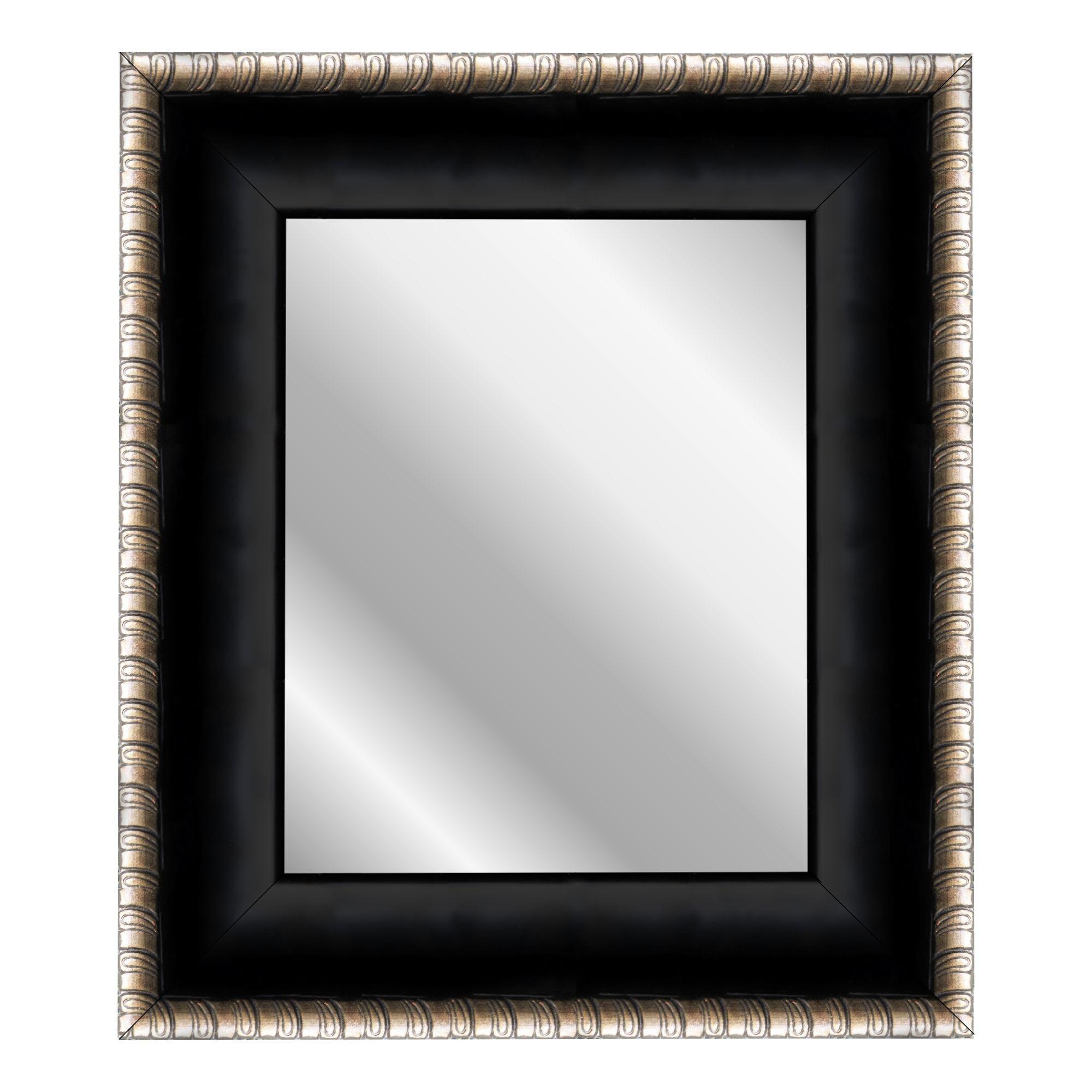 Satin Midnight Ebony Scrolls Wall Mirror