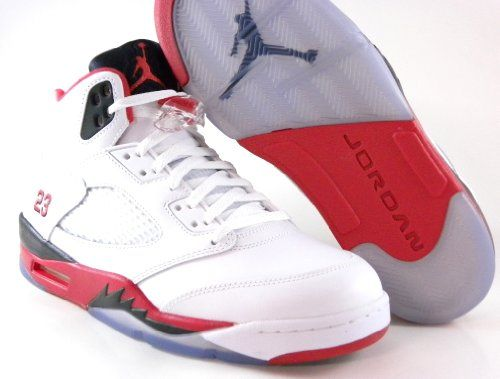 buy popular 391f2 0828c Nike Mens Air Jordan Retro 5 Basketball Shoes White Fire Red Black 136027- 120 Size 10.5 Jordan,
