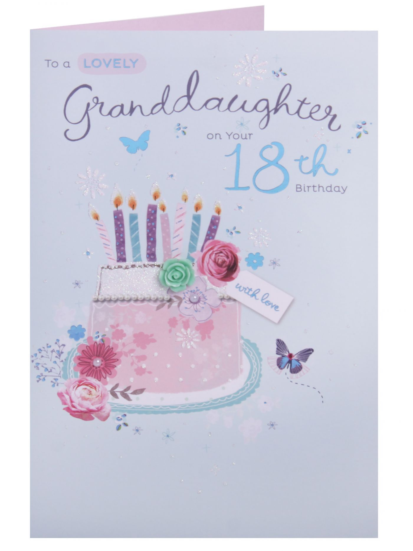 Lovely granddaughter 18th birthday card 18 21 birthday cards send birthday greetings with this pretty card embellished with plastic roses holographic foil and pearl diamante kristyandbryce Gallery
