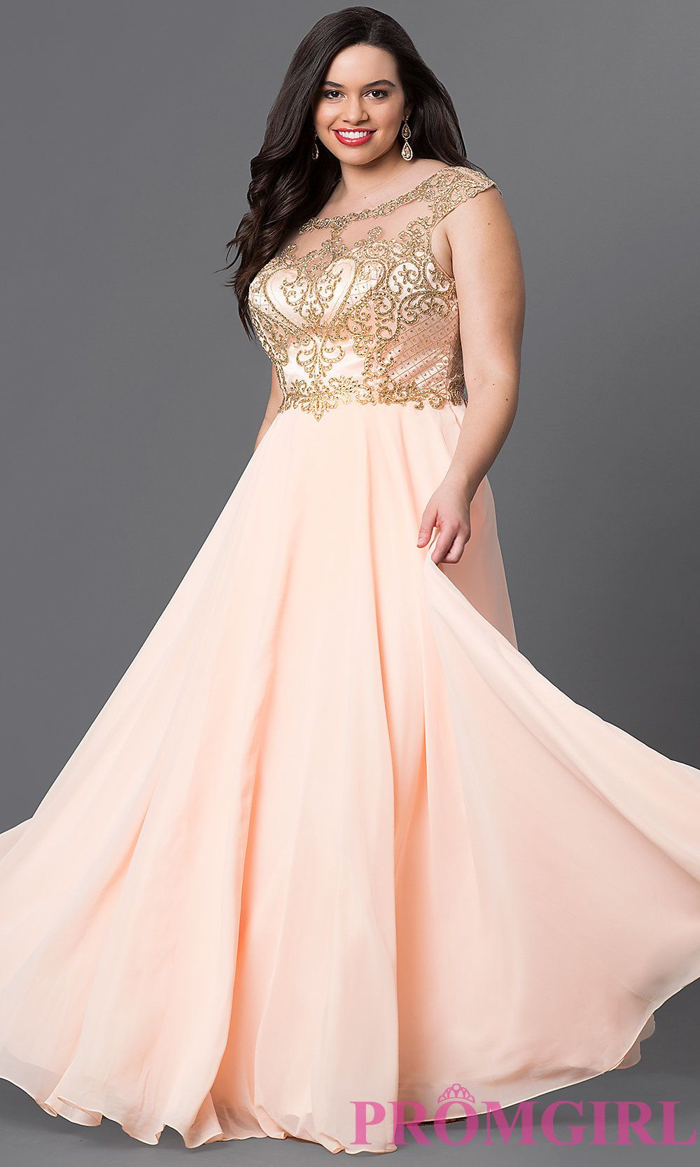 5ec30c4f10e Peach Pink Plus Long Prom Dress with Embroidery