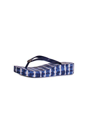 35d0d56cb TORY BURCH Tory Burch Classic Wedge Flip Flop Sandals In Navy Sea Ziggy Blue.   toryburch  shoes  shoes