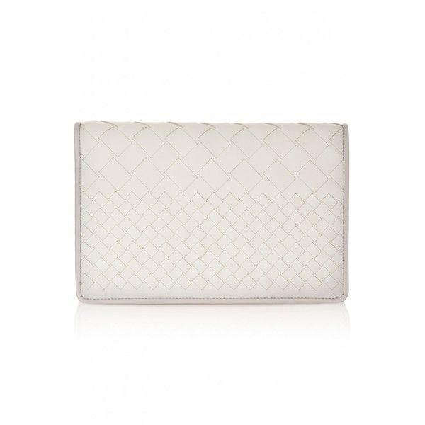 Bottega Veneta Montebello Intrecciato Clutch ($1,639) ❤ liked on Polyvore featuring bags, handbags, clutches, grey, print handbags, grey purse, 100 leather handbags, genuine leather purse and leather purse