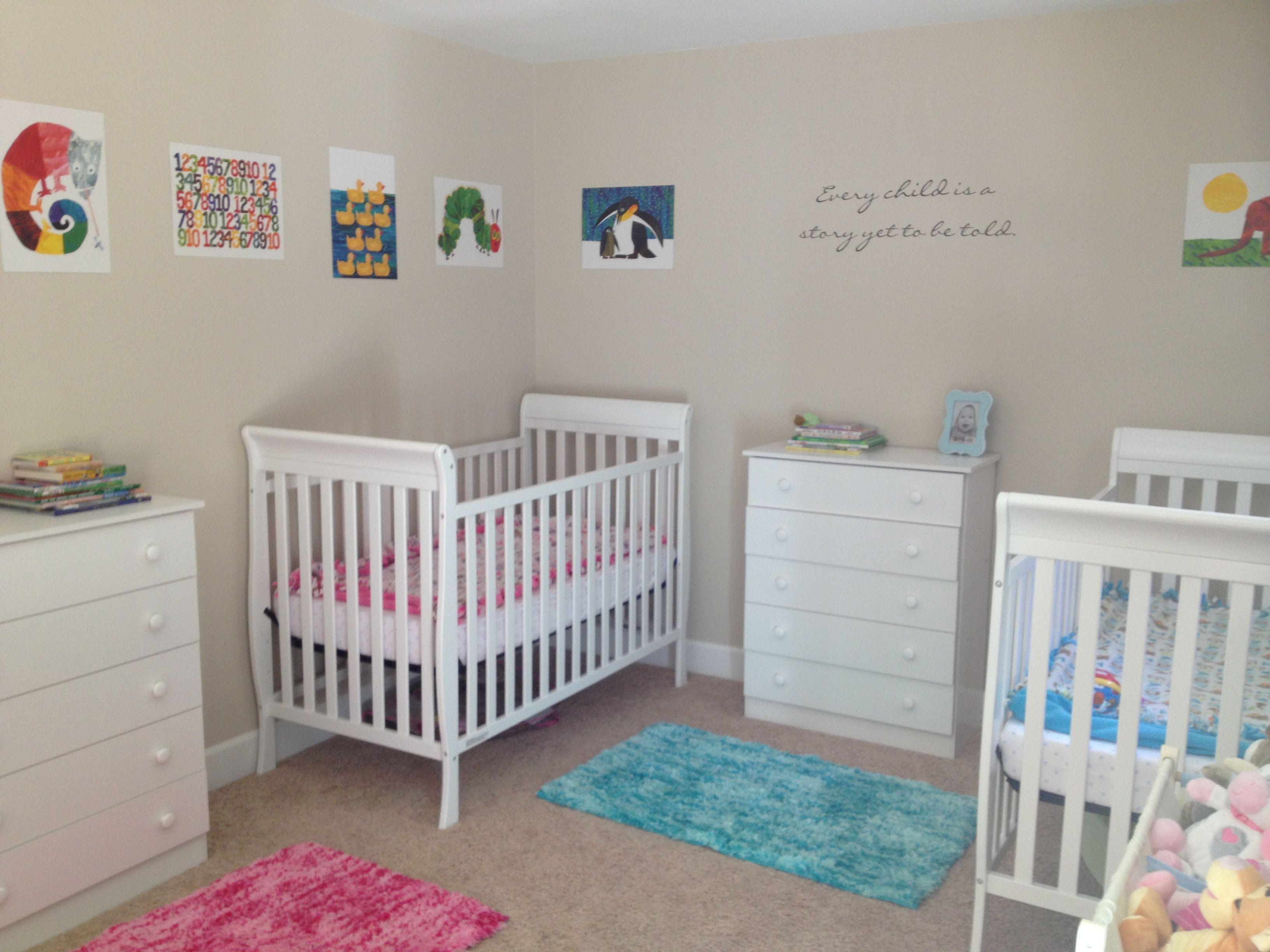 Twins nursery kids pinterest twin nurseries nursery for Baby twin bedroom ideas