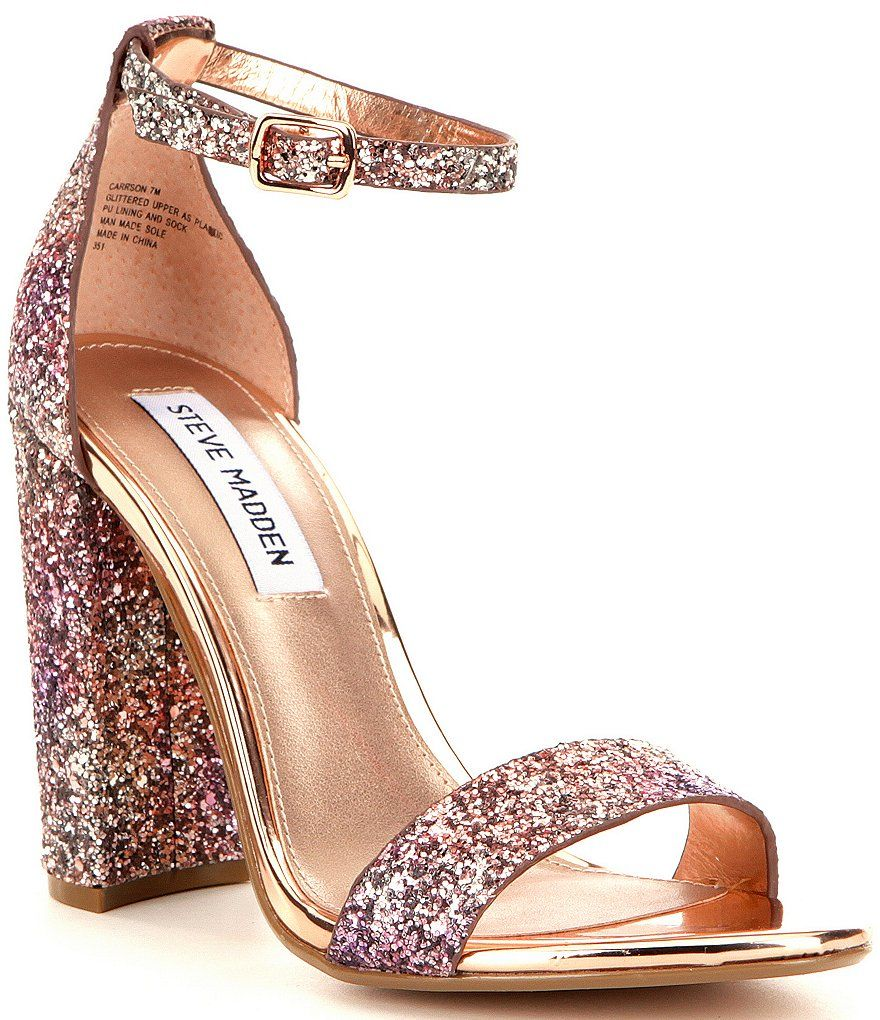 Steve Madden Carrson Glitter Block Heel Dress Sandals