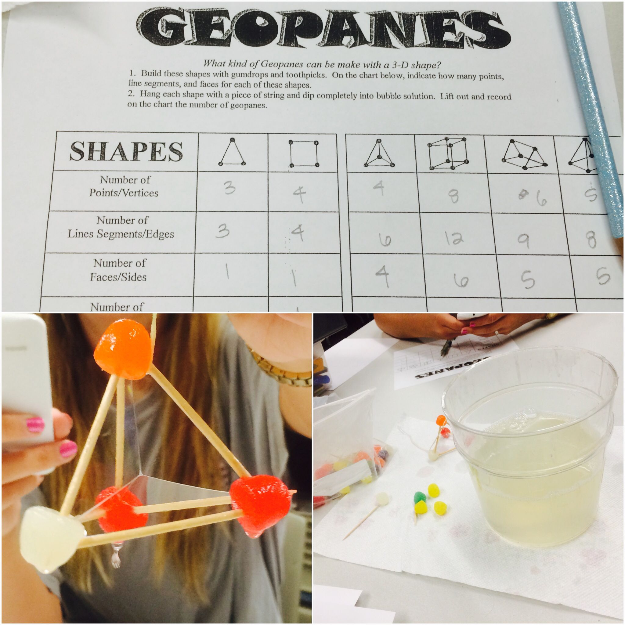 Geopanes Activity Gumdrops Toothpicks Bubble Solution And This Worksheet Form 2d Shapes And