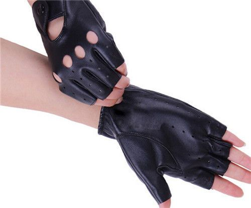 New Women's Leather Gloves Half Finger Fingerless Stage Sports Cycling Driving #new