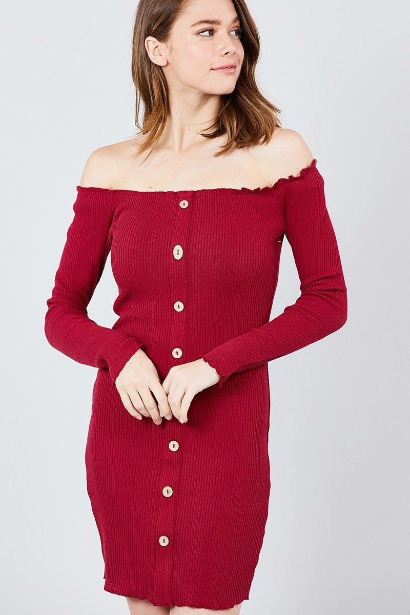 Long Sleeve Button Down Detail Off The Shoulder Cotton Spandex Heavy Rib Mini Dress Ribbed Mini Dress Burgundy Mini Dress Flare Mini Dress [ 1200 x 800 Pixel ]