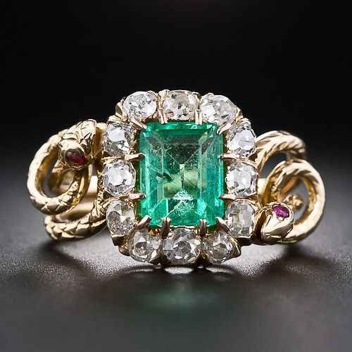 Victorian Emerald and Diamond Double Snake Ring - 30-1-5183 - Lang Antiques