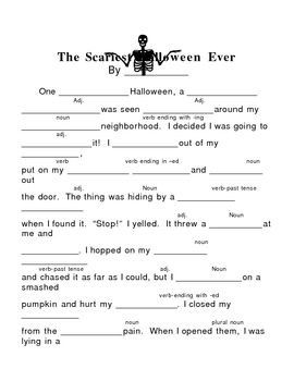 picture about Halloween Mad Libs Printable named The Scariest Halloween At any time--Insane Lib Halloween Halloween