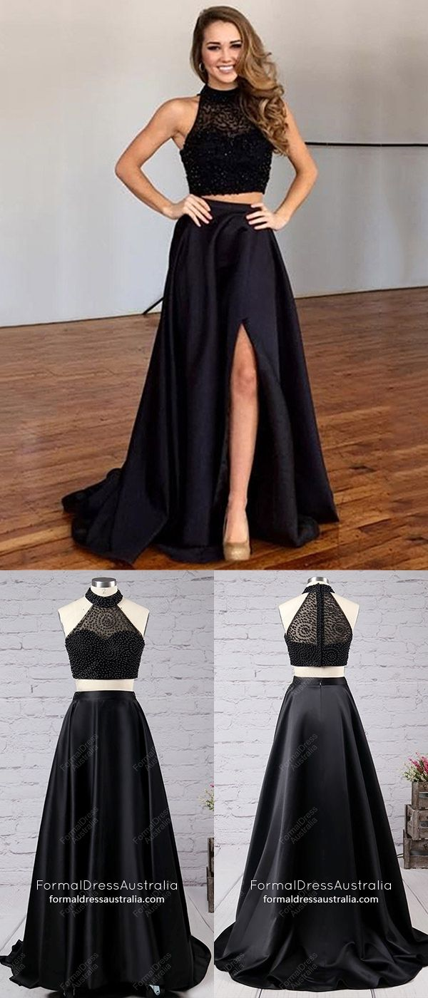 Long formal dresses two piece black prom dresses with slit satin