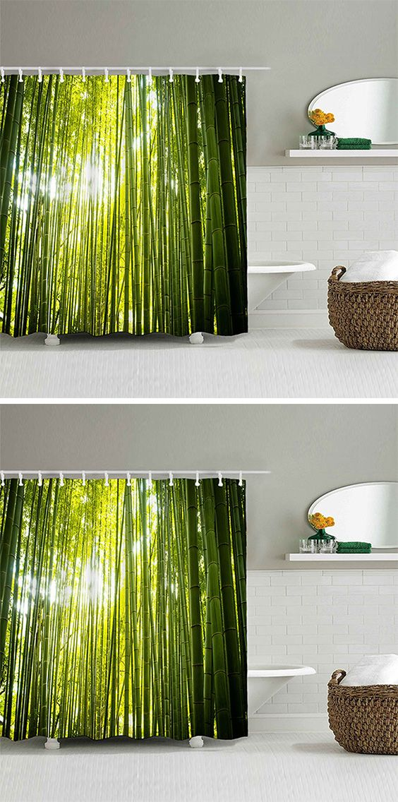bamboo forest printed waterproof fabric shower curtain waterproof fabric fabrics and cottage style - Dresslily Shower Curtains