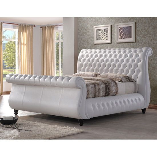 Best Sawn White Real Leather Finish Super King Size Bed Buy 400 x 300