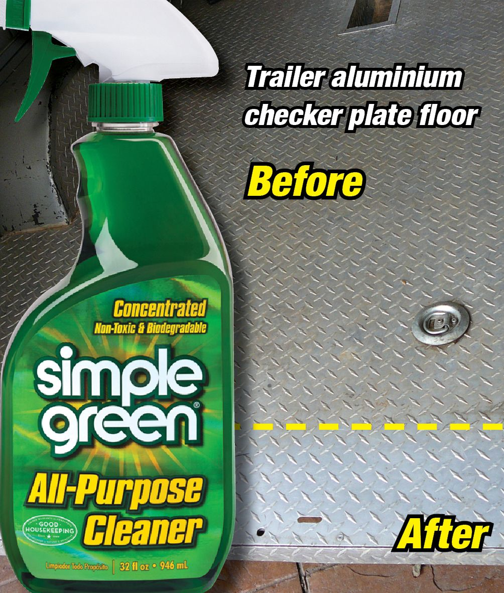 Cleaning The Aluminium Checker Plate Flooring Of A Trailer Using Simple Green All Purpose Cleaner Best Cleaner Biodegradable Products Cleaning