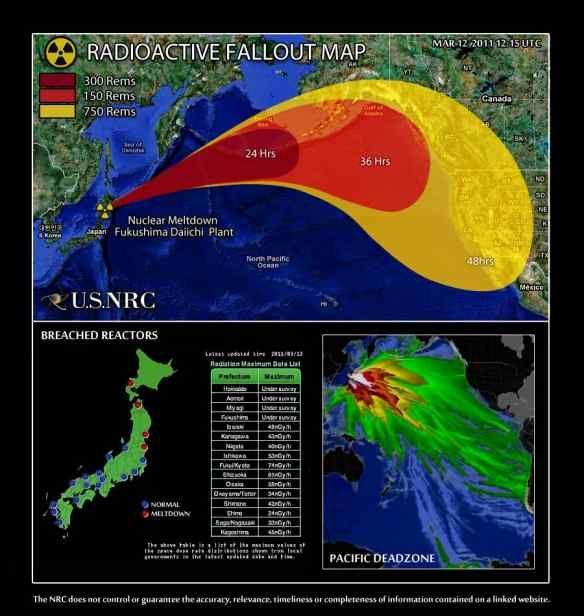 Radio active fallout map from Fukushima-Daiichi.   Fukushima ...
