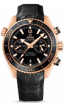 1b866a349e9 Omega Seamaster Planet Ocean 600 M Co-Axial Chronograph 45.5 mm Red Gold  Leather Strap