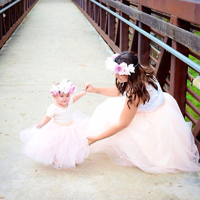45a3e82b6f Blush tulle skirt, mother daughter love, flower crown, family photoshoot,  mom fashion www.space46boutique.com