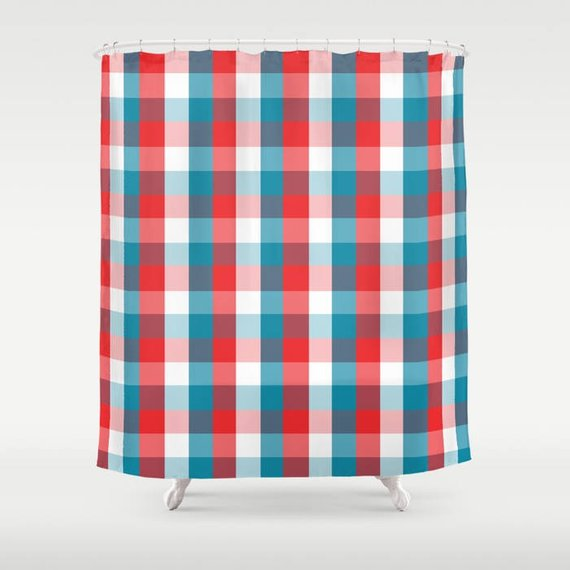 Red White Blue Shower Curtain Extra Long Shower Curtain
