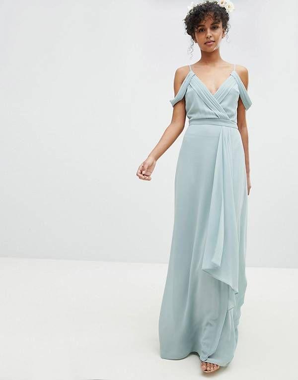 Color Green Lily Tfnc Cold Shoulder Wrap Maxi Bridesmaid Dress With Fishtail Bridemaid Dresses Pinterest