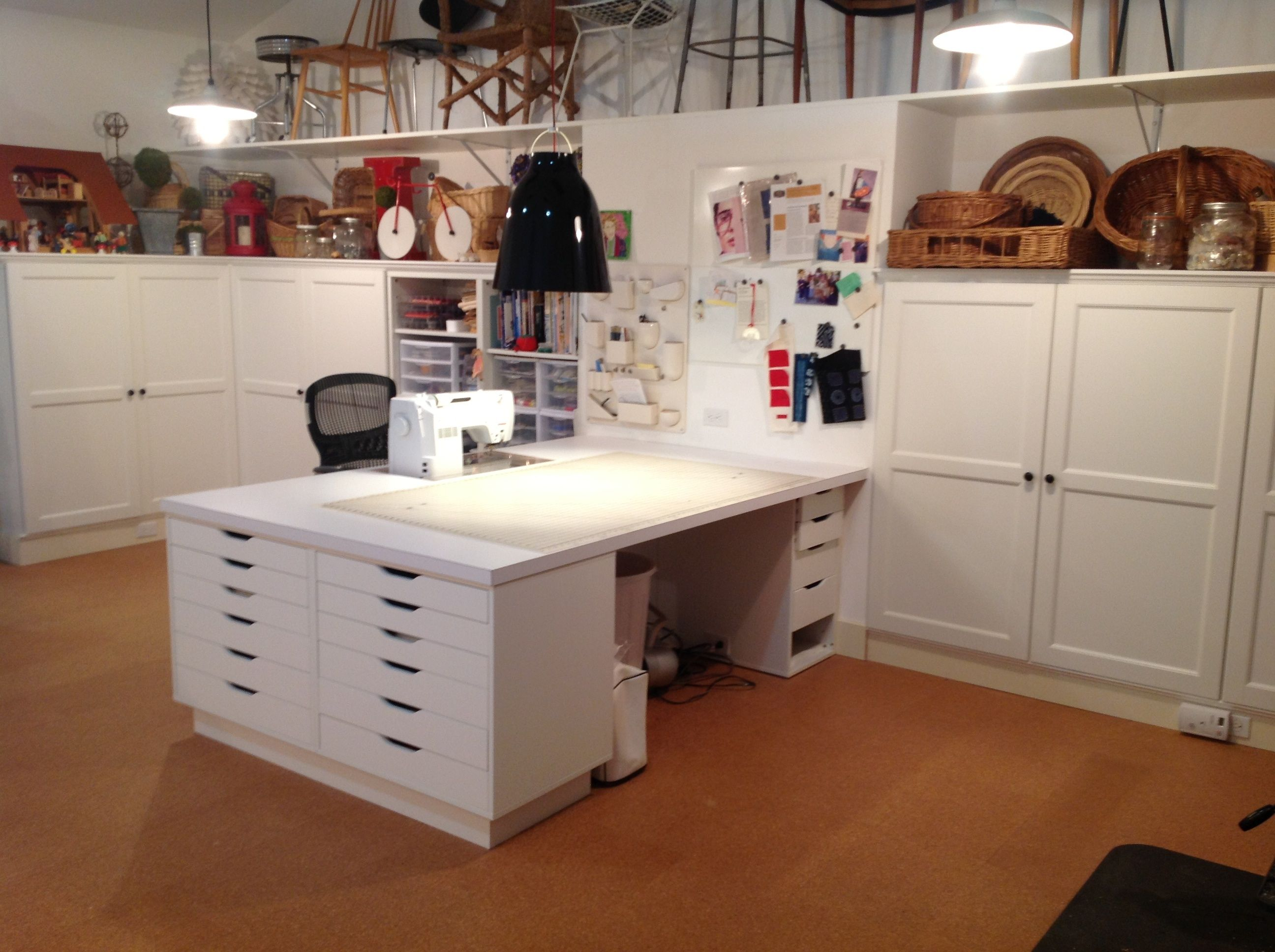 Tailormade Sewing Cabinet Quilt Art Studio Ikea Besta Storage Cabinets Built In With Crown