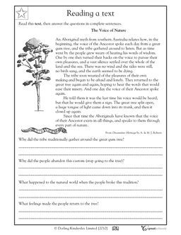 Worksheet Reading Comprehension Grade 4 reading comprehension voice of nature worksheets activities greatschools