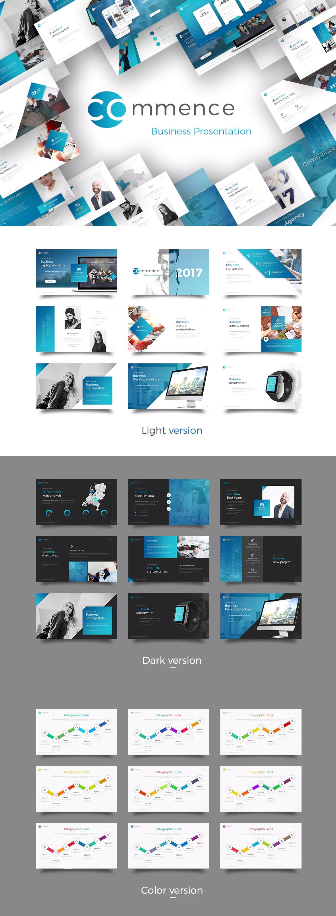 Commence Business Presentation Template  Powerpoint Presentation