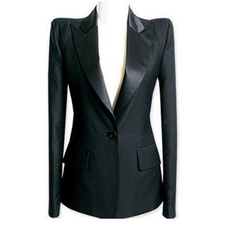 new female fashion blazer outerwear shoulder pads suit plus size ...