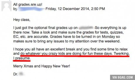 Email from a professor.