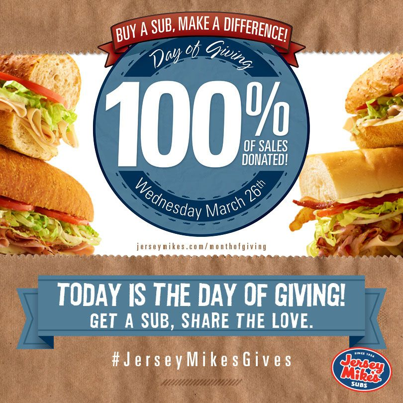 Read more about Jersey Mike's Day of Giving: http://www.jimmyv.org/2014/03/jersey-mikes-day-giving/