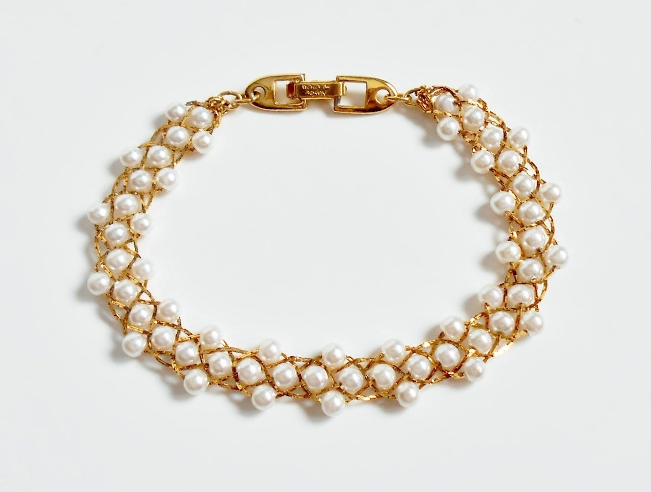 Pearl Bracelet, Vintage Napier Jewelry, Faux Pearl, Woven Gold Chain,  Beaded Pearl