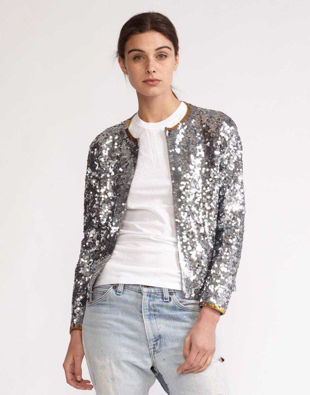 Sequin Cardigan Silver sequin cardigan with gold sequin trim ...