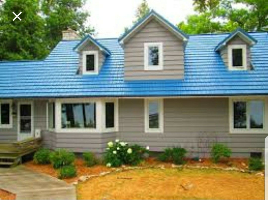 Pin By Suzi Phillips On For The Home Metal Roof Roof Trusses Blue Roof
