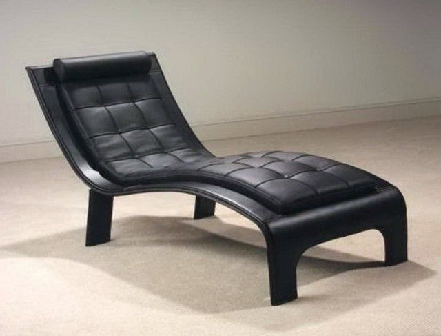 Modern Small Black Chaise Lounge For Bedroom