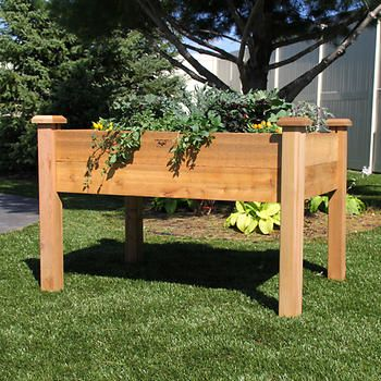 Gronomics Rustic Elevated Garden Bed 189 99 Costco 100 Western Red Cedar 34 W X 48 L X 32 H X 9 Elevated Garden Beds Garden Beds Elevated Garden Planters