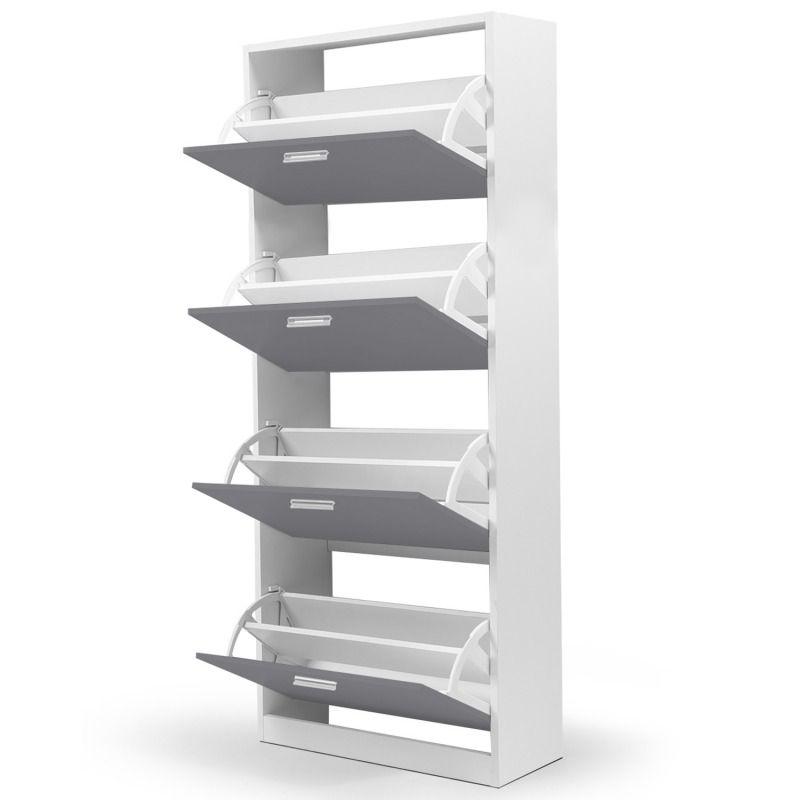 Meuble chaussures blanc et gris 24 paires meuble à chaussure moderne rangement chaussure design