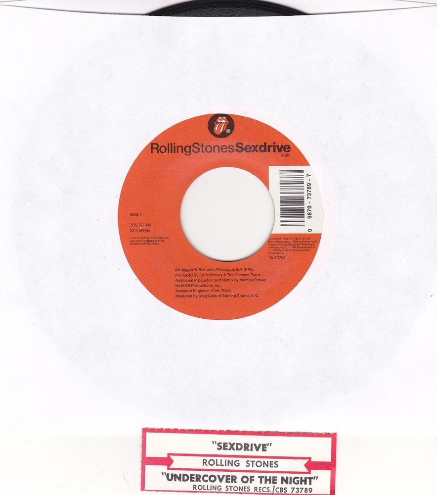 "Rolling Stones / Sexdrive / Undercover Of The Night / 7"" Vinyl 45 RPM Record & Jukebox Strip #RollingStones #RockMusic"