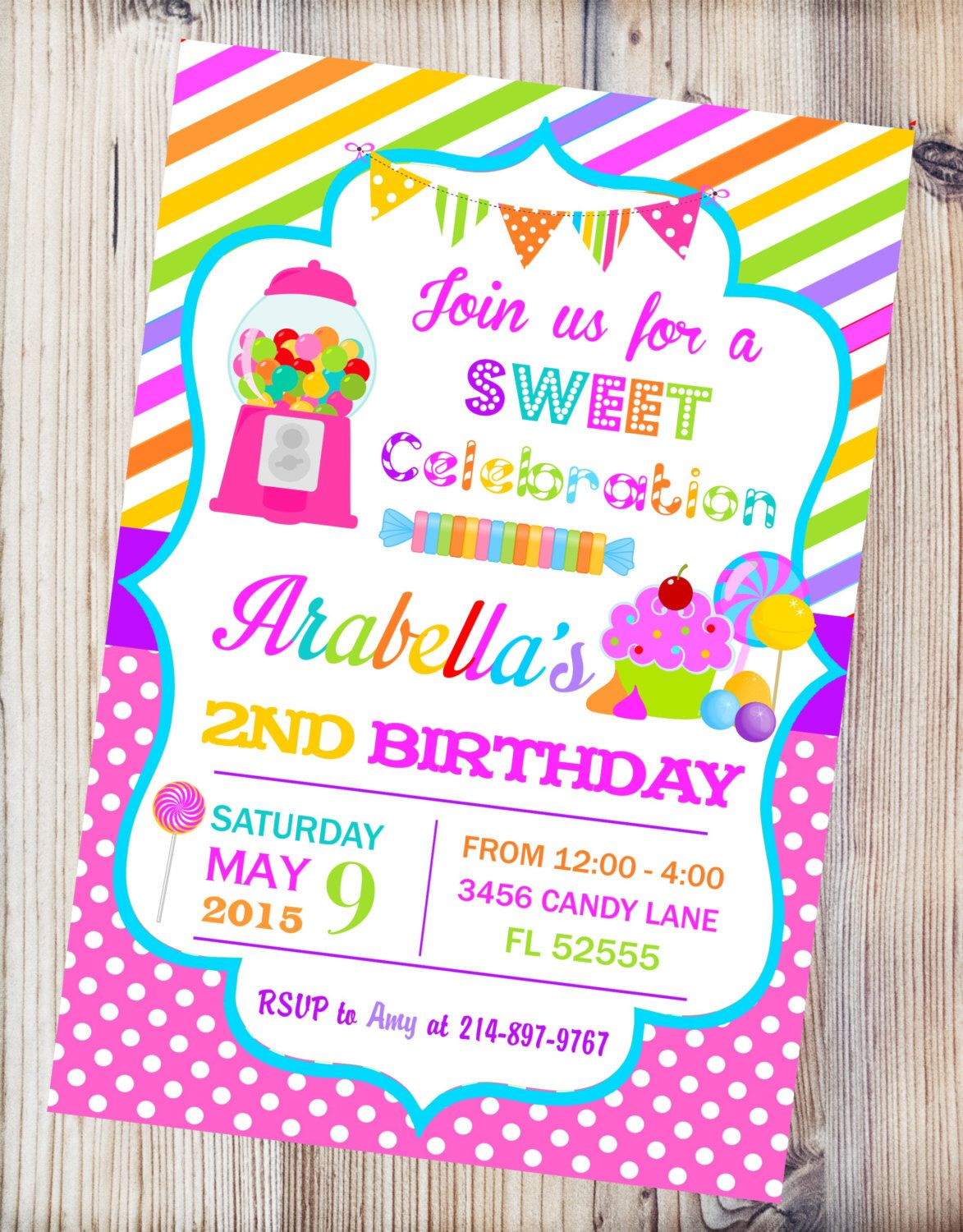 candyland printable invitation candy shop birthday invitation