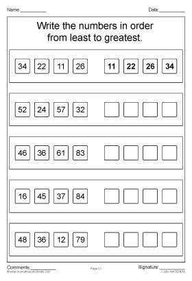 Least to Greatest 1 to 100 worksheet part 1   Tanítás, Matek